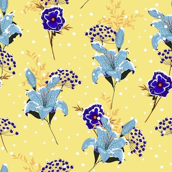 Winter Snow on blooming lily flowers pattern