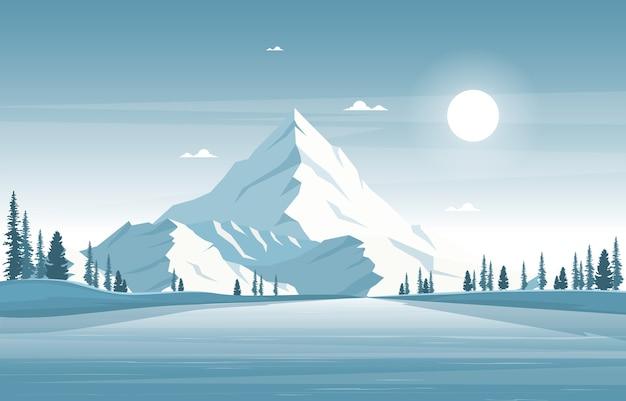 冬の雪松山穏やかな自然の風景イラスト