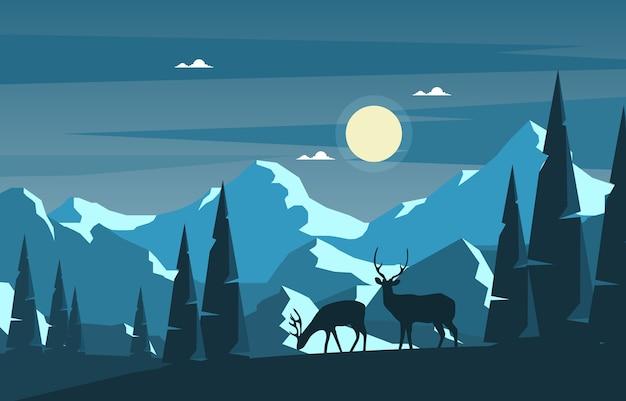 冬の雪松山鹿自然風景イラスト