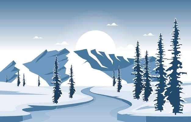 冬の雪の松山凍った川自然風景イラスト