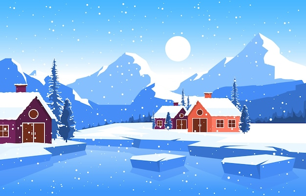 Winter snow pine mountain house lake nature landscape illustration