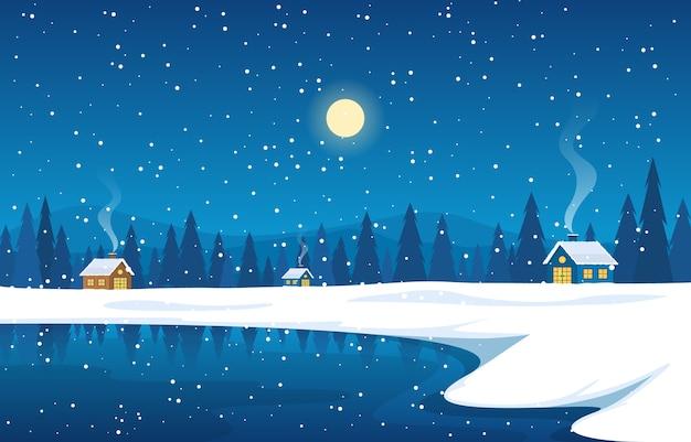 冬の雪松山の家湖の自然の風景イラスト
