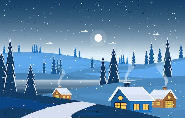 冬のスノーパインマウンテンハウスストリート自然景観イラスト