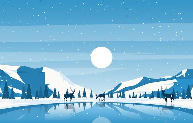 Winter snow pine mountain lake deer nature landscape illustration