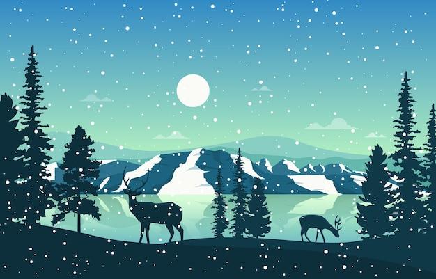 Зимний снег сосна гора озеро снегопад природа пейзаж иллюстрация