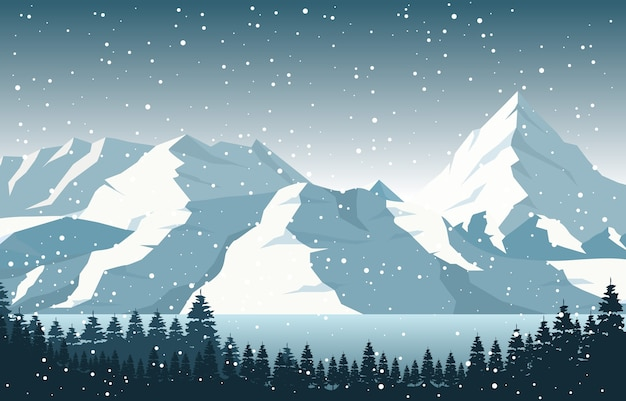 Winter snow pine mountain lake snowfall nature landscape illustration