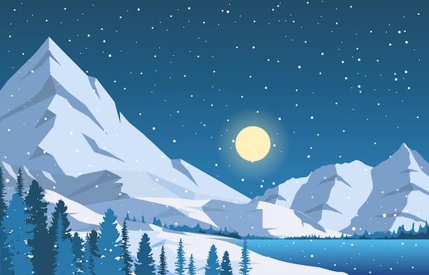 冬の雪松山湖降雪自然風景イラスト