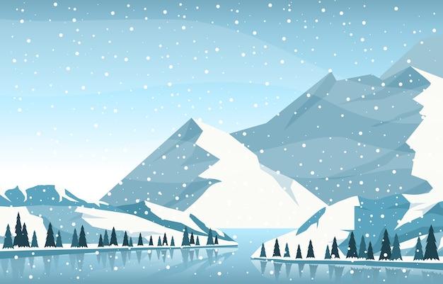 Зимний снег сосна гора река снегопад природа пейзаж иллюстрация