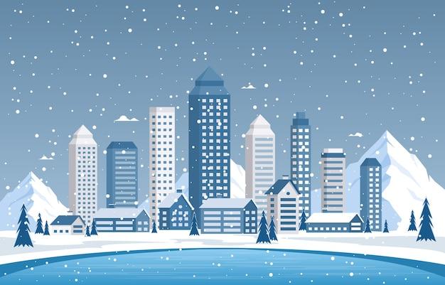 冬の雪松山降雪シティハウス風景イラスト