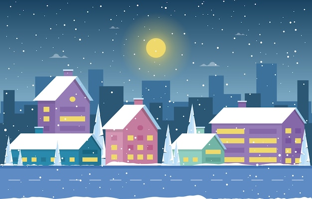 冬の雪松降雪シティハウス風景イラスト