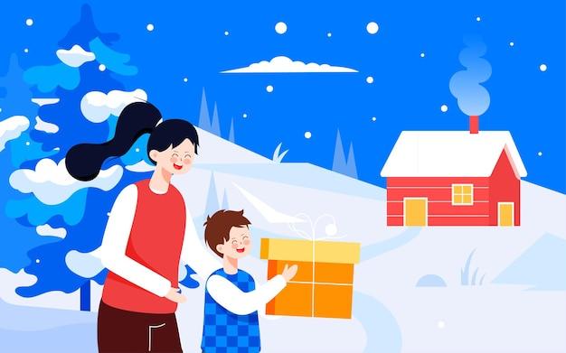 겨울 설경 태양 용어 일러스트 겨울 캐릭터 야외 이벤트 포스터