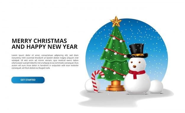 メリークリスマスと新年あけましておめでとうございますの冬の雪の季節。雪だるまのキャラクター、キャンディー杖、雪だるまのクリスマスツリー。