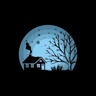 Winter snow silhouette vector illustration logo design