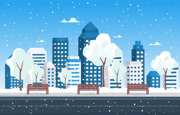 冬の雪の木降雪都市の建物の風景イラスト