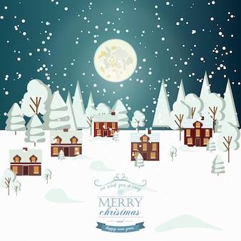 겨울 눈 도시 시골 풍경 도시 마을 부동산 새 해 크리스마스 밤과 낮 배경 현대 평면 디자인 크리스마스 집 스타일입니다. 보름달