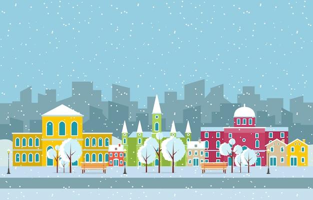 Winter snow in vienna city cityscape illustration