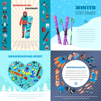 Winter snowboarding equipment banner set. flat illustration of winter snowboarding equipment