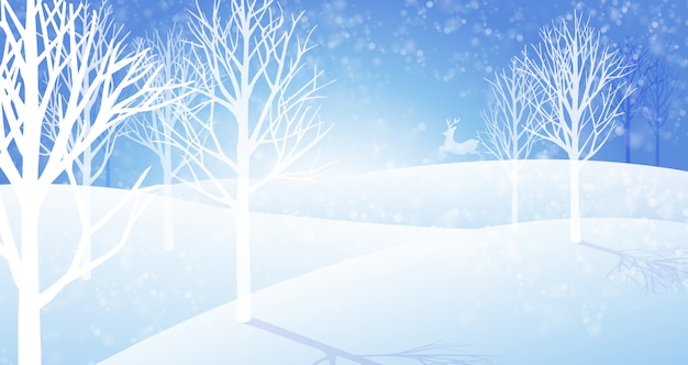 Winter snowfall landscape background