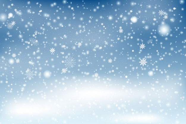 Winter snowfall and snowflakes turquoise blue background. snowflakes in different shapes and forms, snowdrifts. winter landscape with falling christmas shining beautiful snow.