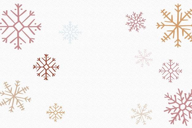 冬の雪の結晶の背景、白いベクトルでクリスマスの美的落書き