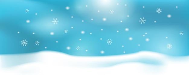 눈, 산, 풍경, 야자수가 있는 겨울 눈송이 배너 배경.