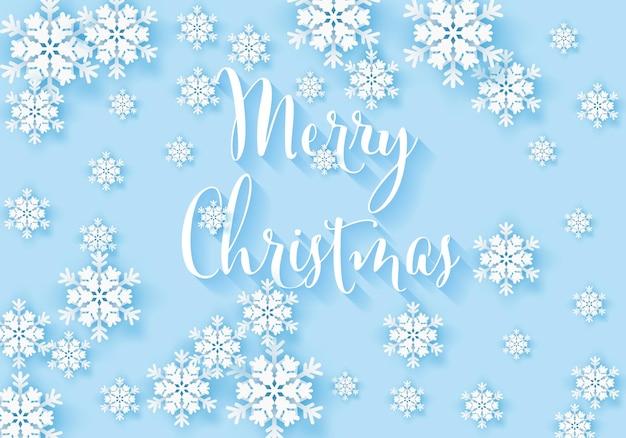 Banner di fiocco di neve invernale con sfondo blu modello di poster di progettazione di neve di buon natale