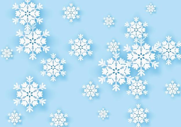 파란색 배경 겨울 눈송이 인사말 배너 휴일에 대 한 겨울 종이 포스터 템플릿