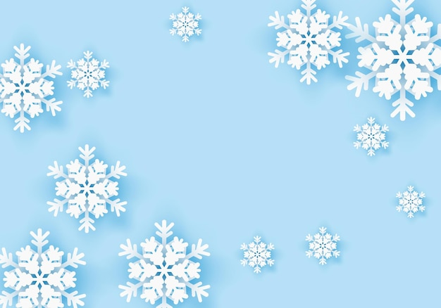 Зимняя снежинка поздравительный баннер с синим фоном зимний плакат шаблон для зимы