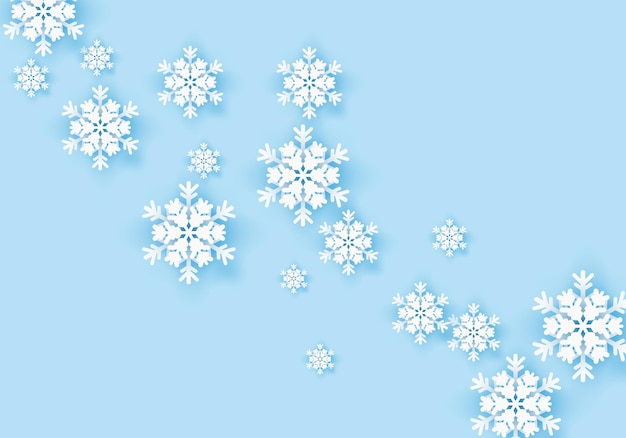 Winter snowflake greeting banner with blue background
