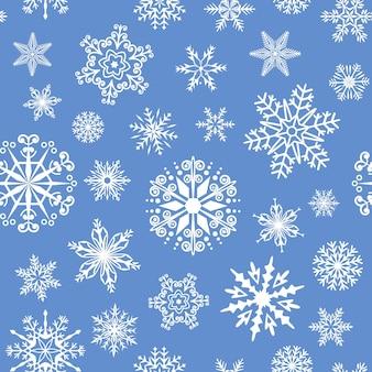 冬のスノーフレークシームレスパターンクリスマスアイスフレーククリスマスギフト包装紙ベクトル背景