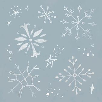 冬のスノーフレークステッカーベクトルセット