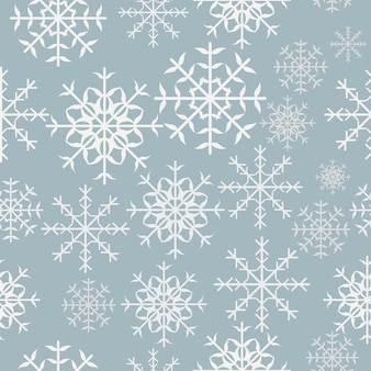 Winter snowflake vector design seamless pattern