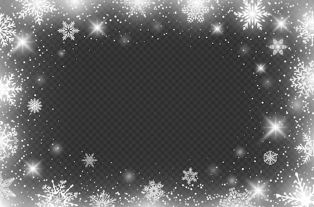 冬の雪片の境界線凍結フレームの境界線はクリスマスの装飾ベクトルの背景に影響を与えます