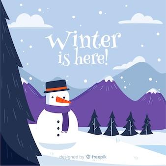 Winter snowman background