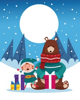 Winter snowscape christmas scene with bear grizzly illustration
