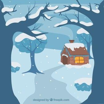 Winter snowy landscape background