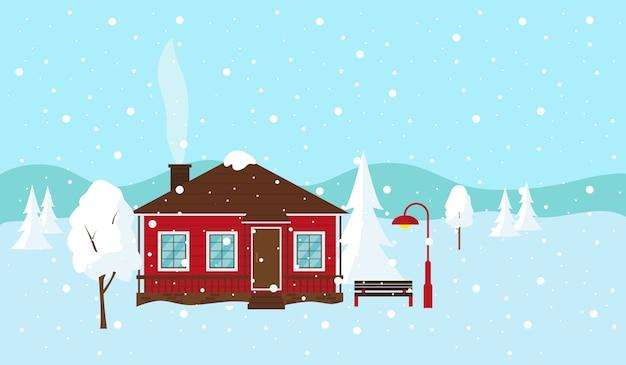 雪に覆われた冬の風景。カントリーハウス、ベンチ、ランタン。図。