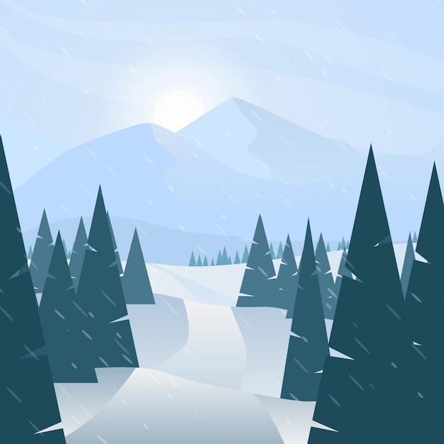 Winter snowy landscape scenery