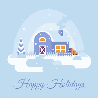 Winter snowy landscape with country house. happy holidays text.