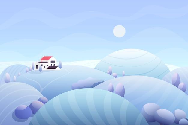 カントリーハウスと冬の雪景色