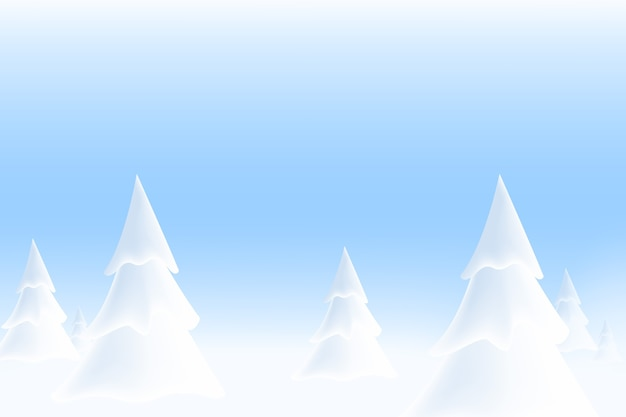 Winter snowy landscape with trees