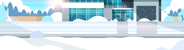 Winter snowy modern cottage house exterior villa building suburban area snowfall sunshine flat horizontal vector illustration