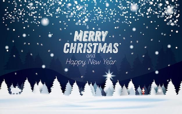 가문비나무 또는 전나무와 겨울 눈 덮인 밤 숲 풍경. 떨어지는 눈송이. 벡터 일러스트 레이 션. 즐거운 성탄절 보내시고 새해 복 많이 받으세요. 산타 클로스.