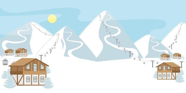 Зимний снежный горнолыжный курорт с шале и канатными дорогами. пустое пространство для текста