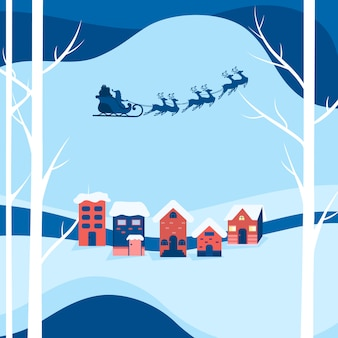 Winter snowy street. santa claus flying with reindeer sleigh
