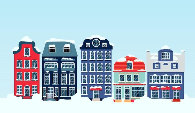 주택 하늘 플랫 만화와 함께 겨울 눈 덮인 거리입니다. 건물과 파노라마 가로. 도시 경관