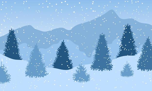雪が降る冬の雪に覆われた森の風景。冬の背景。ベクトルイラスト