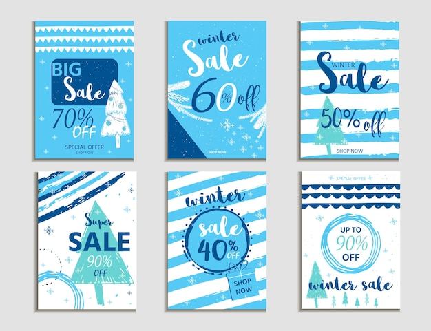 Winter social media sale banners and ads, web template collection.  christmas vector illustration for mobile website posters, email and newsletter designs, promotional material
