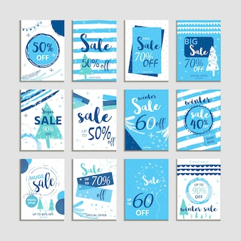 冬のソーシャルメディア販売のバナーと広告、webテンプレートコレクション。モバイルサイトのポスター、メールやニュースレターのデザイン、販促資料のクリスマスベクトルイラスト