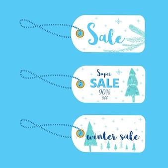 冬のソーシャルメディア販売のバナーと広告、ウェブテンプレートコレクション。モバイルサイトのポスター、メールやニュースレターのデザイン、販促資料のクリスマスベクトルイラスト